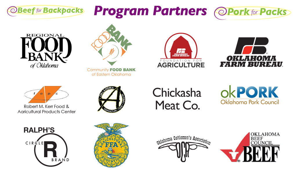 Beef for Backpacks and Pork for Packs program parnters